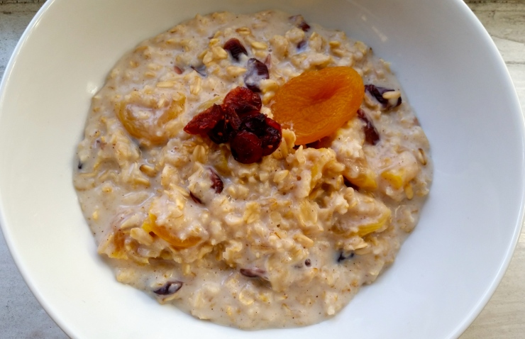 French Toast Oatmeal with Dried Apricots and Cranberries
