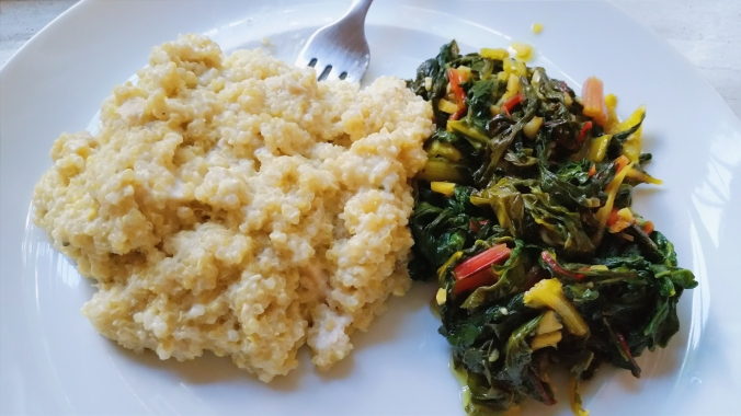 Cheesy Quinoa with Sautéed Swiss Chard