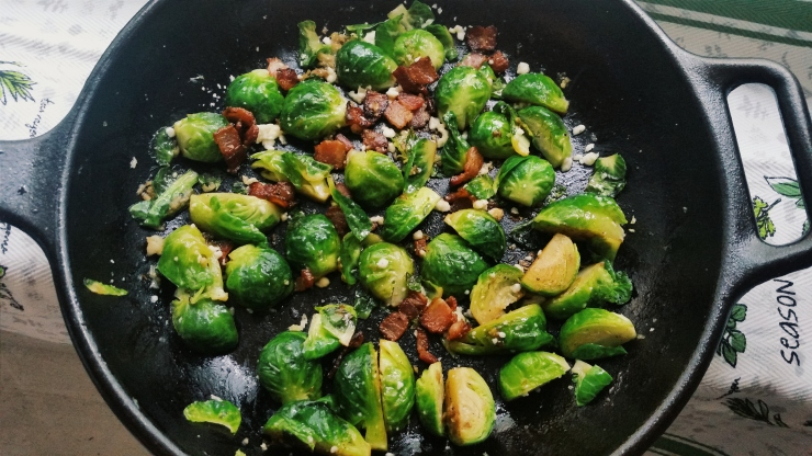 Braised Brussels Sprouts with Bacon and Cotija Cheese
